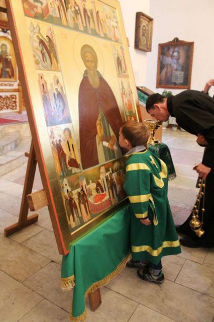 Икона прп. Сергия Радонежского в храме пос. Комиссарово