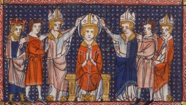 «Хиротония св. Илария», миниатюра XIV века