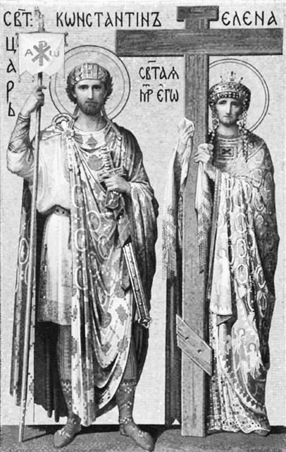 Равноапостольные Константин  и Елена. Мозаика Исаакиевского собора в Санкт-Петербурге