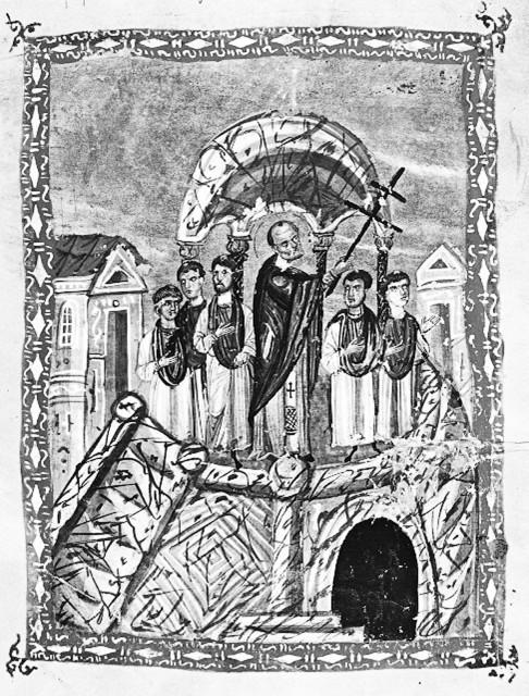 Воздвижение Честного и Животворящего Креста Господня. Византийская миниатюра 12 века